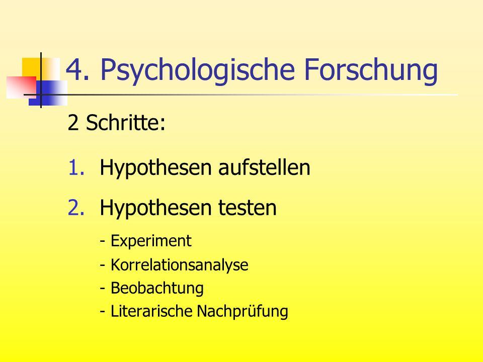 4. Psychologische Forschung 2 Schritte: 1.Hypothesen aufstellen 2.Hypothesen testen - Experiment - Korrelationsanalyse - Beobachtung - Literarische Na