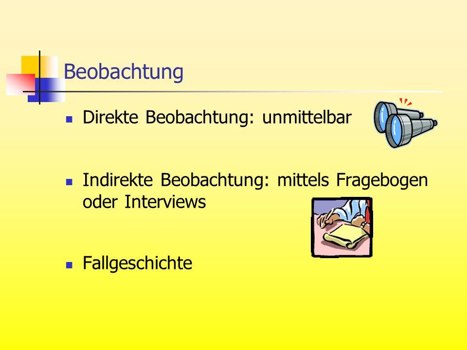 Beobachtung Direkte Beobachtung: unmittelbar Indirekte Beobachtung: mittels Fragebogen oder Interviews Fallgeschichte
