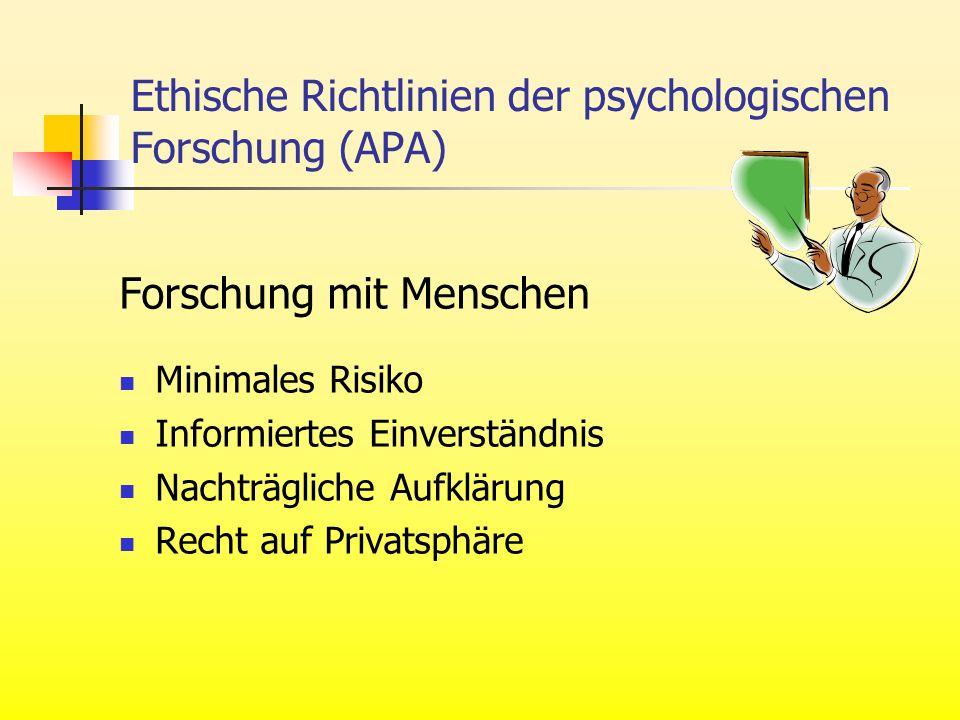 Ethische Richtlinien der psychologischen Forschung (APA) Forschung mit Menschen Minimales Risiko Informiertes Einverständnis Nachträgliche Aufklärung Recht auf Privatsphäre