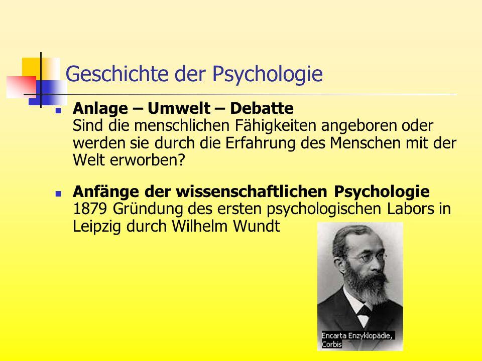 Geschichte der Psychologie Anlage – Umwelt – Debatte Sind die menschlichen Fähigkeiten angeboren oder werden sie durch die Erfahrung des Menschen mit der Welt erworben.