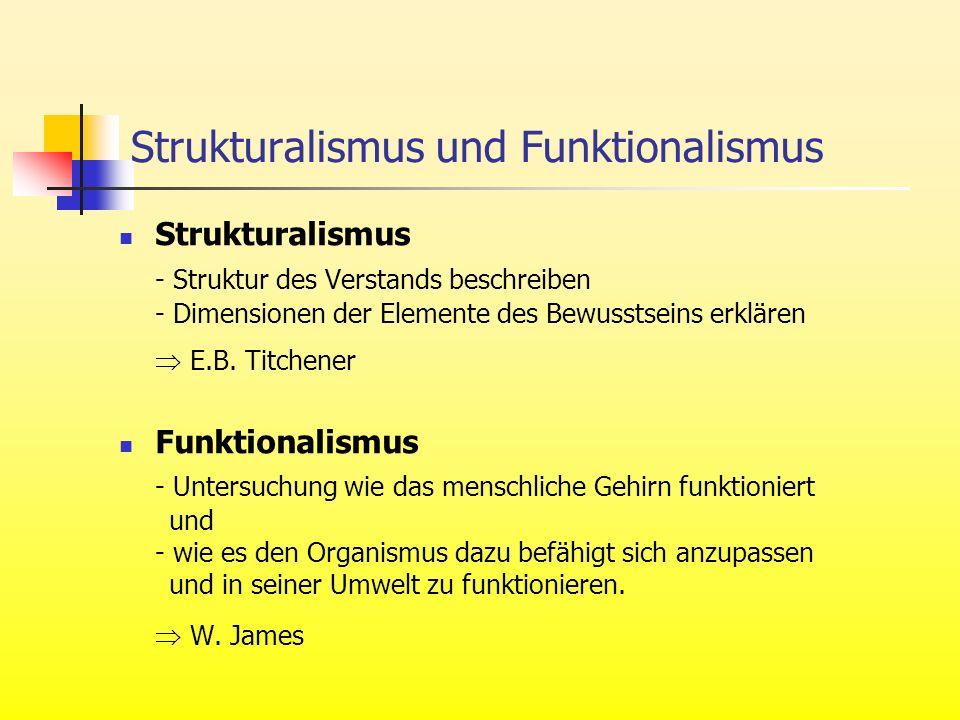 Strukturalismus - Struktur des Verstands beschreiben - Dimensionen der Elemente des Bewusstseins erklären E.B. Titchener Funktionalismus - Untersuchun