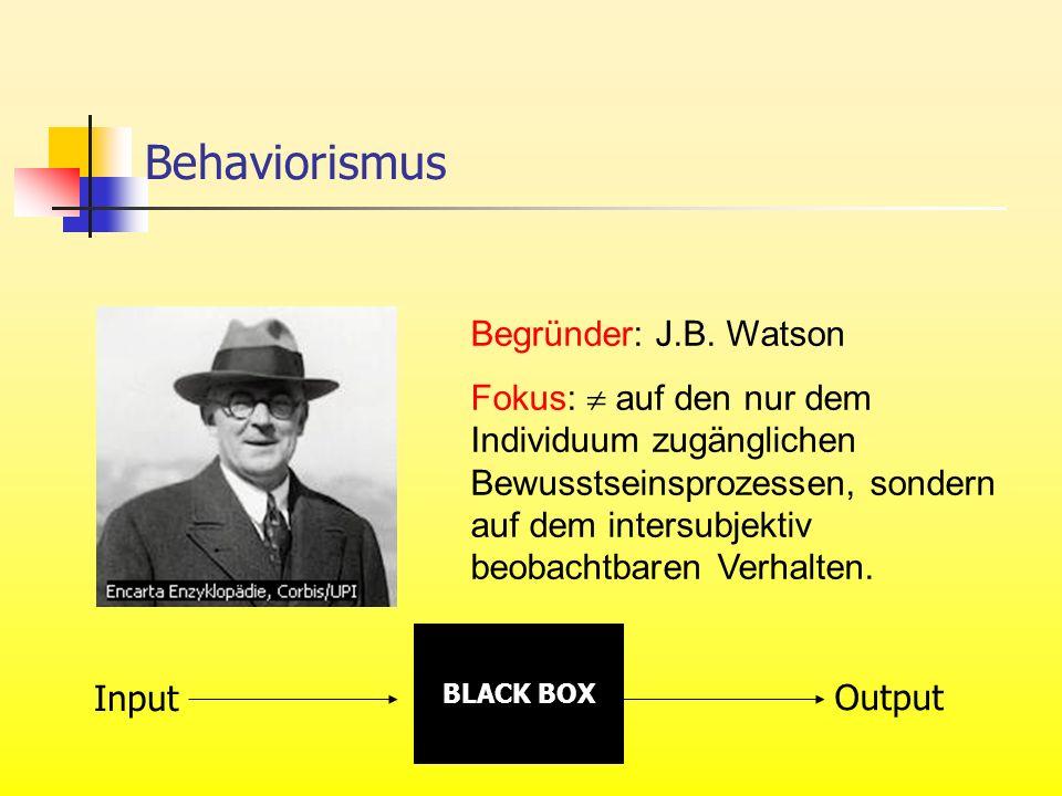 Begründer: J.B. Watson Fokus: auf den nur dem Individuum zugänglichen Bewusstseinsprozessen, sondern auf dem intersubjektiv beobachtbaren Verhalten. B