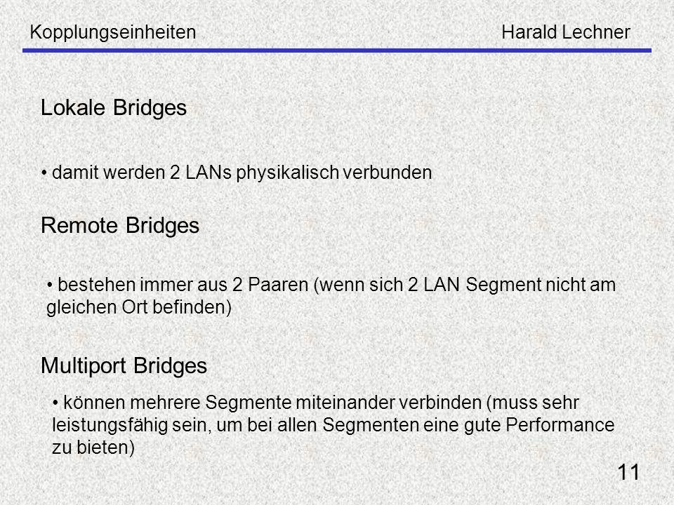 KopplungseinheitenHarald Lechner 11 Lokale Bridges damit werden 2 LANs physikalisch verbunden Remote Bridges bestehen immer aus 2 Paaren (wenn sich 2