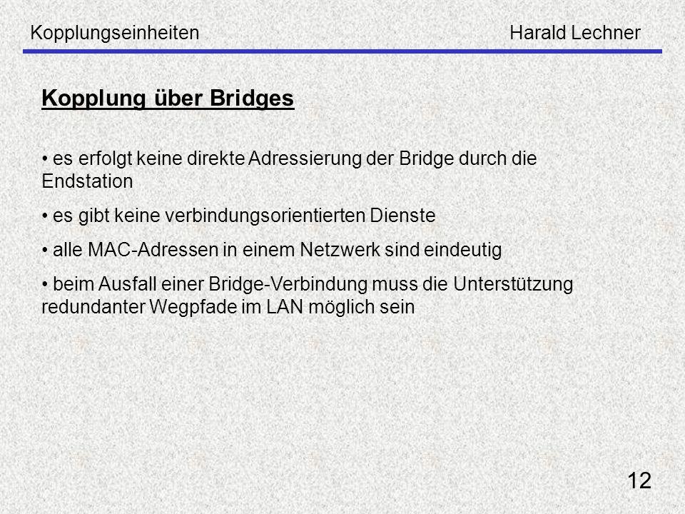 KopplungseinheitenHarald Lechner 12 es erfolgt keine direkte Adressierung der Bridge durch die Endstation es gibt keine verbindungsorientierten Dienst