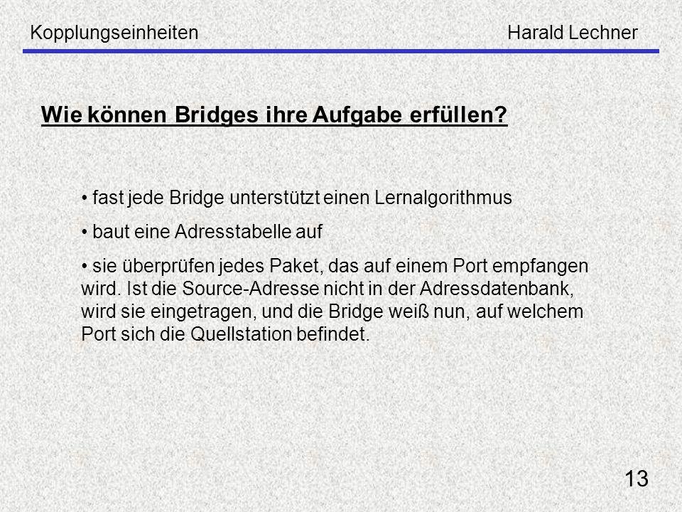 KopplungseinheitenHarald Lechner 13 Wie können Bridges ihre Aufgabe erfüllen? fast jede Bridge unterstützt einen Lernalgorithmus baut eine Adresstabel