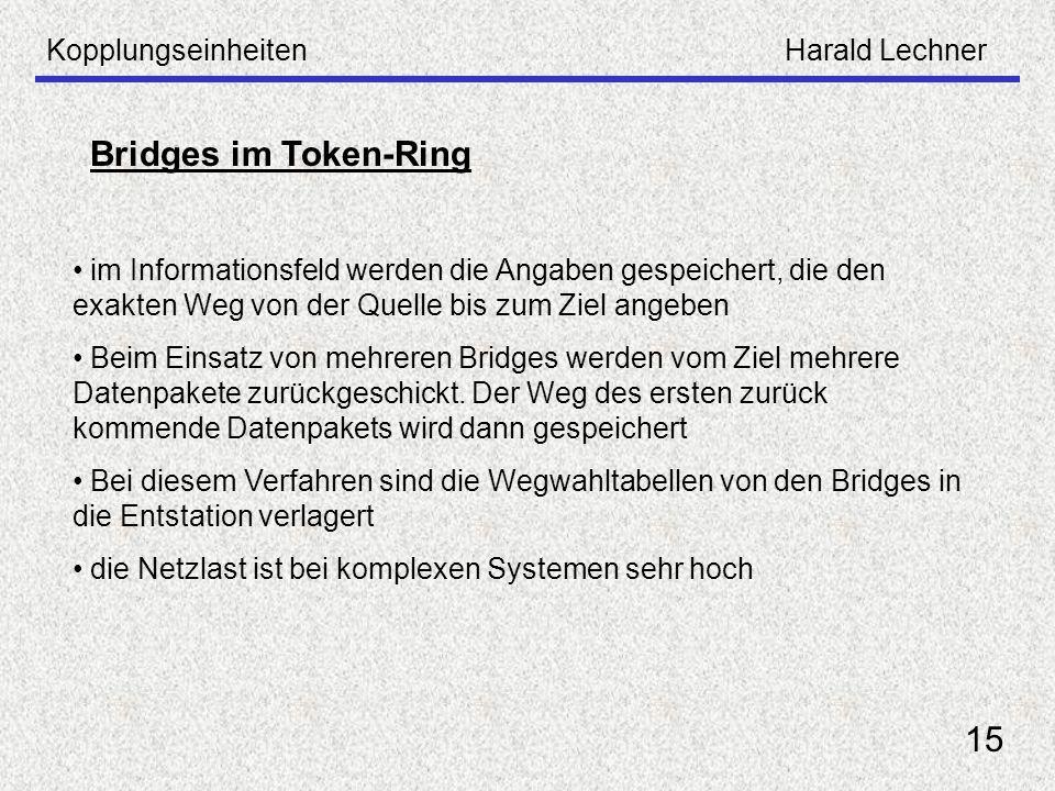 KopplungseinheitenHarald Lechner 15 Bridges im Token-Ring im Informationsfeld werden die Angaben gespeichert, die den exakten Weg von der Quelle bis z