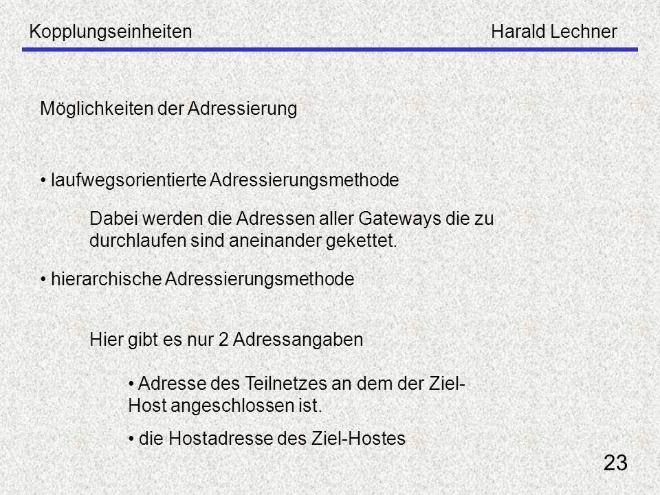 KopplungseinheitenHarald Lechner 23 Möglichkeiten der Adressierung laufwegsorientierte Adressierungsmethode hierarchische Adressierungsmethode Dabei w