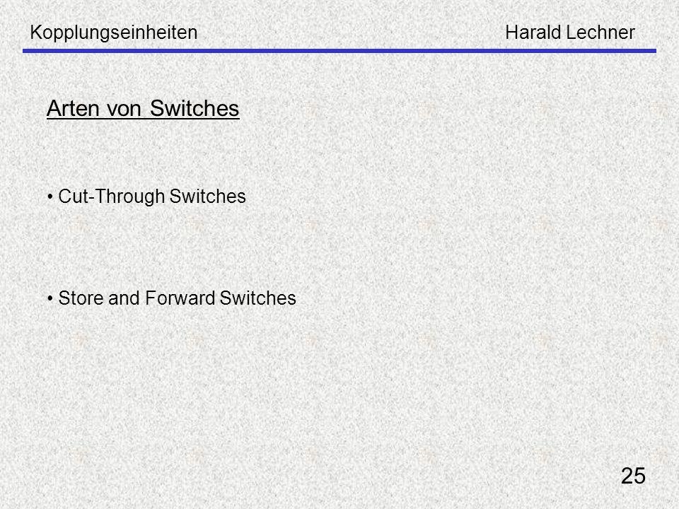 KopplungseinheitenHarald Lechner 25 Arten von Switches Cut-Through Switches Store and Forward Switches