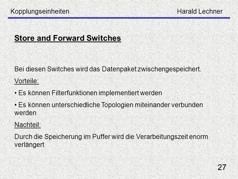 KopplungseinheitenHarald Lechner 27 Store and Forward Switches Bei diesen Switches wird das Datenpaket zwischengespeichert. Vorteile: Es können Filter