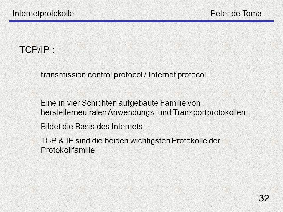 InternetprotokollePeter de Toma 32 TCP/IP : transmission control protocol / Internet protocol Eine in vier Schichten aufgebaute Familie von hersteller