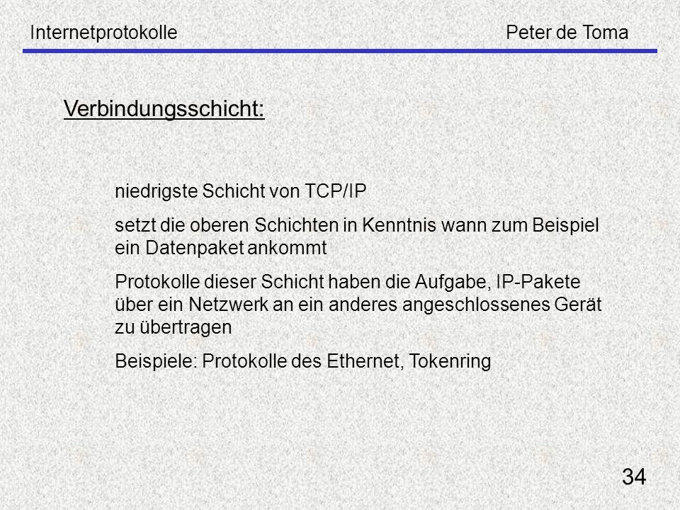 InternetprotokollePeter de Toma 34 Verbindungsschicht: niedrigste Schicht von TCP/IP setzt die oberen Schichten in Kenntnis wann zum Beispiel ein Date