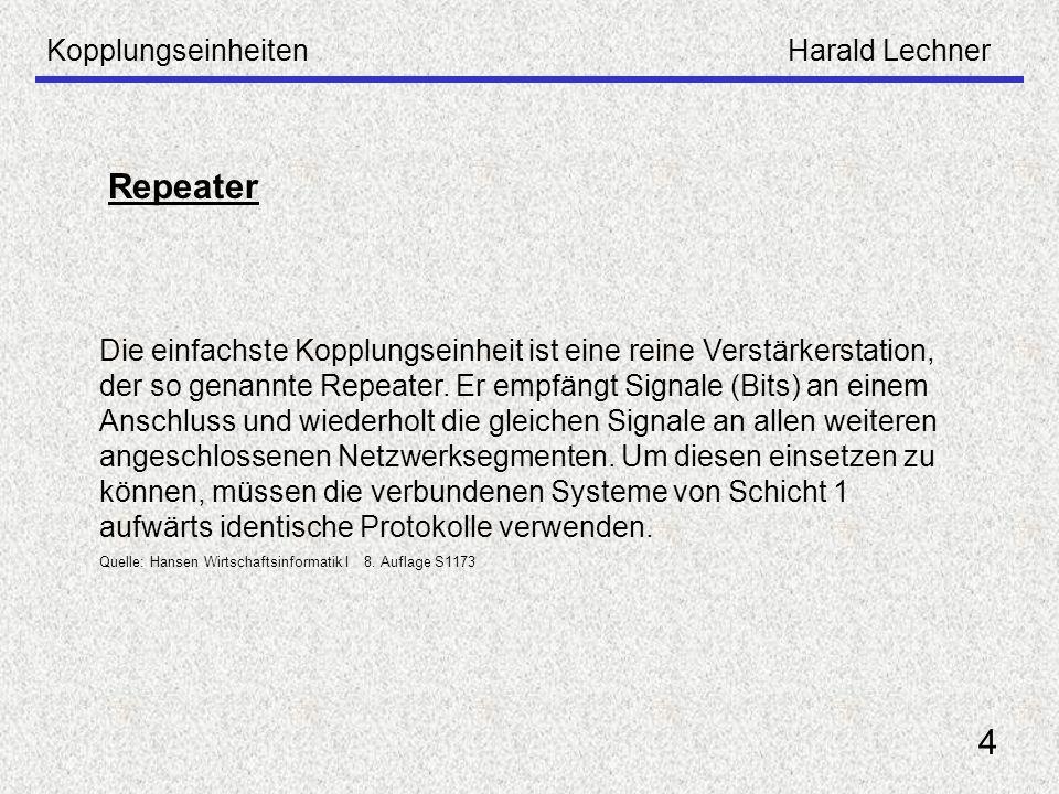 KopplungseinheitenHarald Lechner 4 Repeater Die einfachste Kopplungseinheit ist eine reine Verstärkerstation, der so genannte Repeater. Er empfängt Si