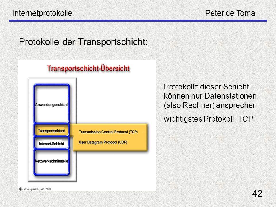 InternetprotokollePeter de Toma 42 Protokolle der Transportschicht: Protokolle dieser Schicht können nur Datenstationen (also Rechner) ansprechen wich