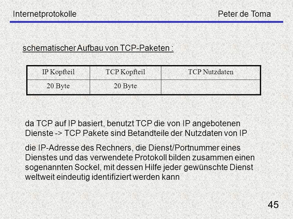 InternetprotokollePeter de Toma 45 schematischer Aufbau von TCP-Paketen : IP KopfteilTCP KopfteilTCP Nutzdaten 20 Byte da TCP auf IP basiert, benutzt