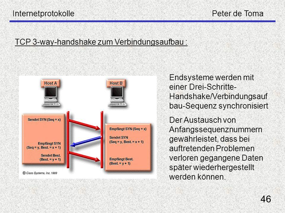 InternetprotokollePeter de Toma 46 TCP 3-way-handshake zum Verbindungsaufbau : Endsysteme werden mit einer Drei-Schritte- Handshake/Verbindungsauf bau