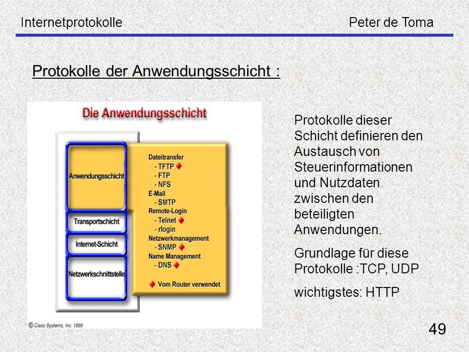 InternetprotokollePeter de Toma 49 Protokolle der Anwendungsschicht : Protokolle dieser Schicht definieren den Austausch von Steuerinformationen und N