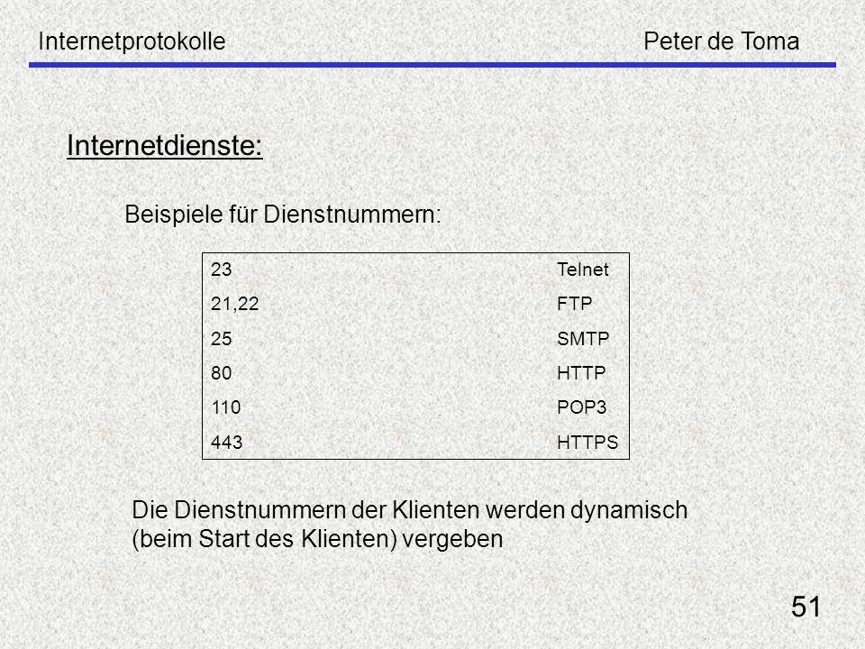 InternetprotokollePeter de Toma 51 Internetdienste: Beispiele für Dienstnummern: 23Telnet 21,22FTP 25SMTP 80HTTP 110POP3 443HTTPS Die Dienstnummern de