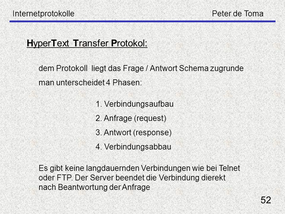 InternetprotokollePeter de Toma 52 dem Protokoll liegt das Frage / Antwort Schema zugrunde man unterscheidet 4 Phasen: 1. Verbindungsaufbau 2. Anfrage