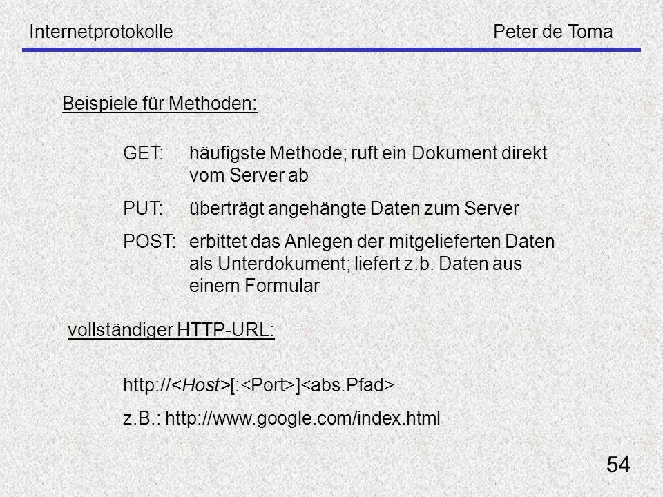 InternetprotokollePeter de Toma 54 Beispiele für Methoden: GET: häufigste Methode; ruft ein Dokument direkt vom Server ab PUT:überträgt angehängte Dat