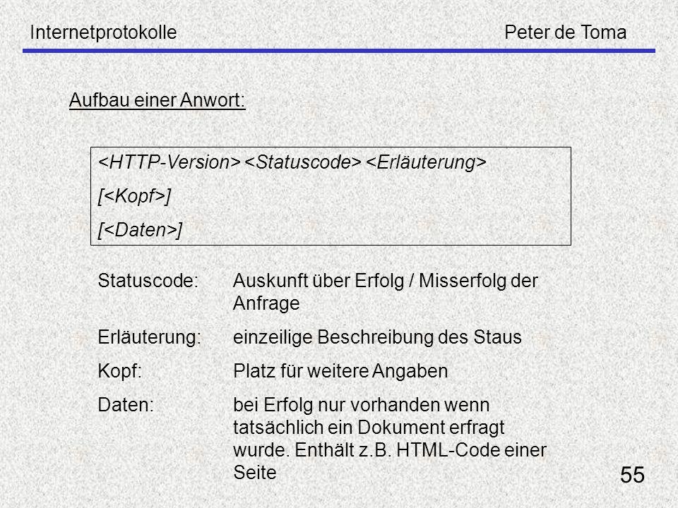 InternetprotokollePeter de Toma 55 Aufbau einer Anwort: [ ] Statuscode: Auskunft über Erfolg / Misserfolg der Anfrage Erläuterung:einzeilige Beschreib