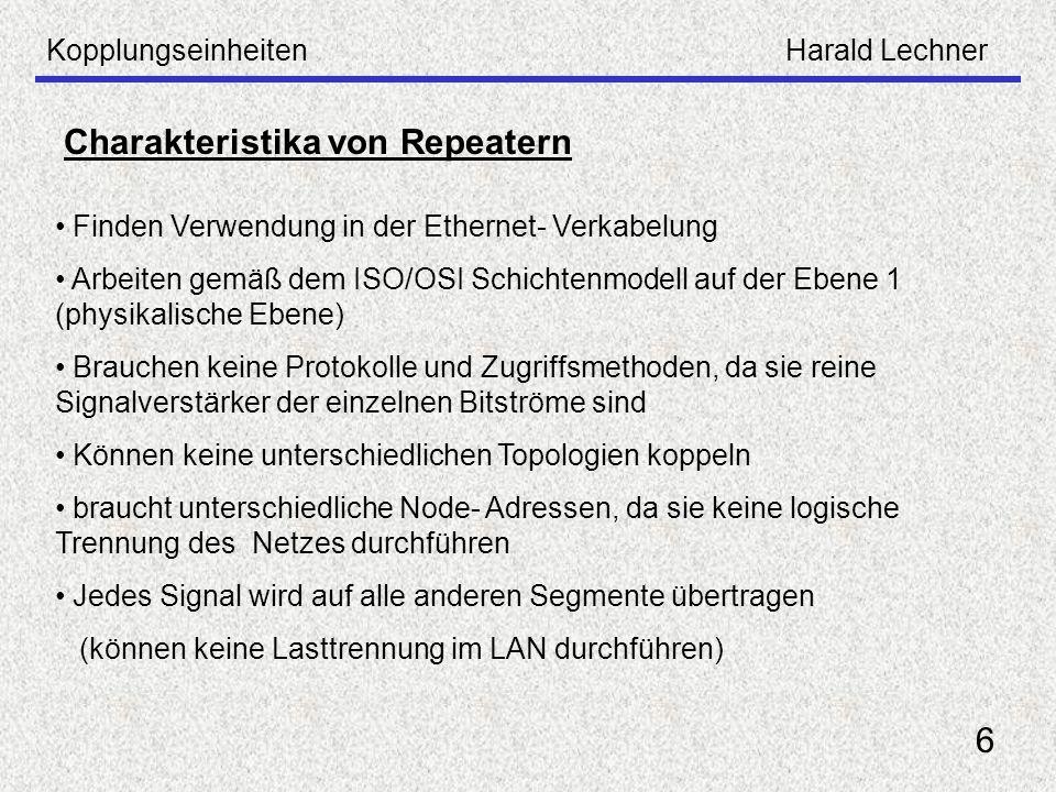 KopplungseinheitenHarald Lechner 6 Charakteristika von Repeatern Finden Verwendung in der Ethernet- Verkabelung Arbeiten gemäß dem ISO/OSI Schichtenmo