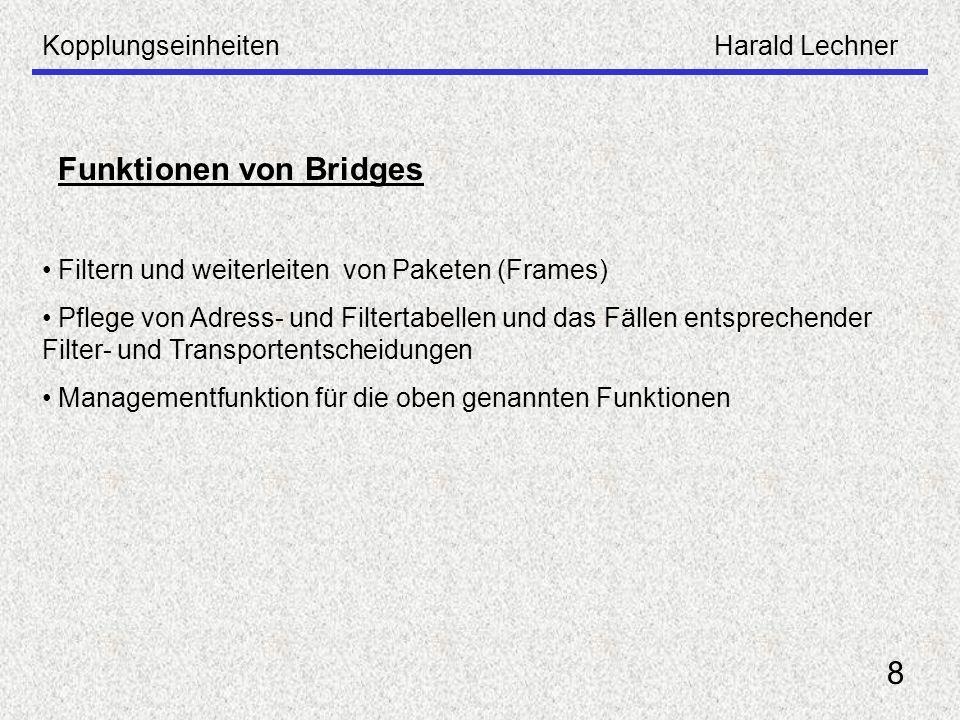 KopplungseinheitenHarald Lechner 8 Funktionen von Bridges Filtern und weiterleiten von Paketen (Frames) Pflege von Adress- und Filtertabellen und das