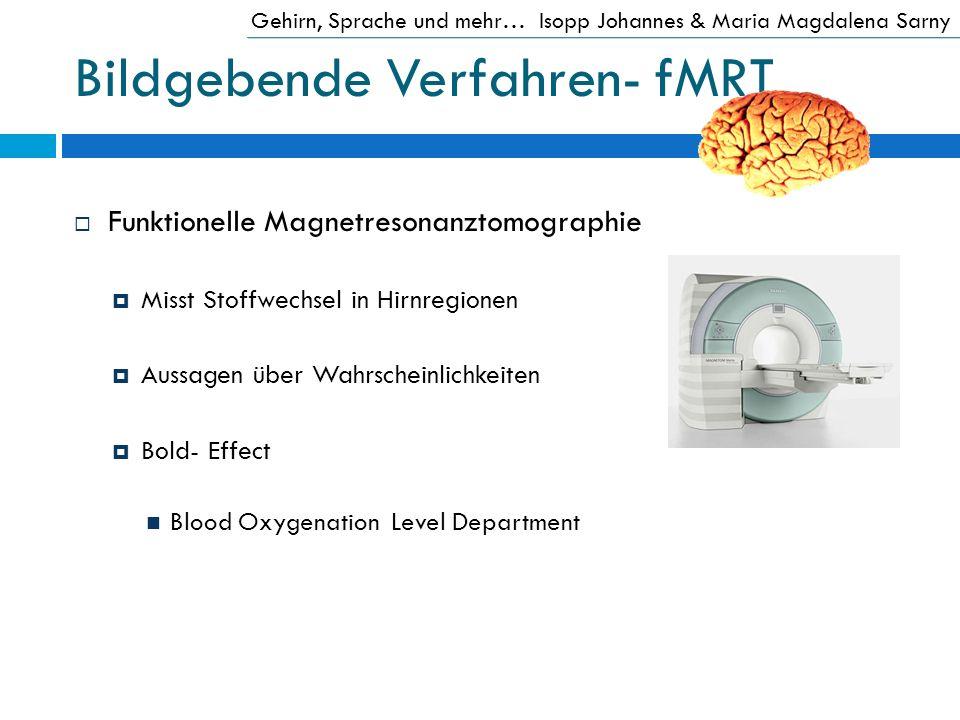 Bildgebende Verfahren- fMRT Funktionelle Magnetresonanztomographie Misst Stoffwechsel in Hirnregionen Aussagen über Wahrscheinlichkeiten Bold- Effect