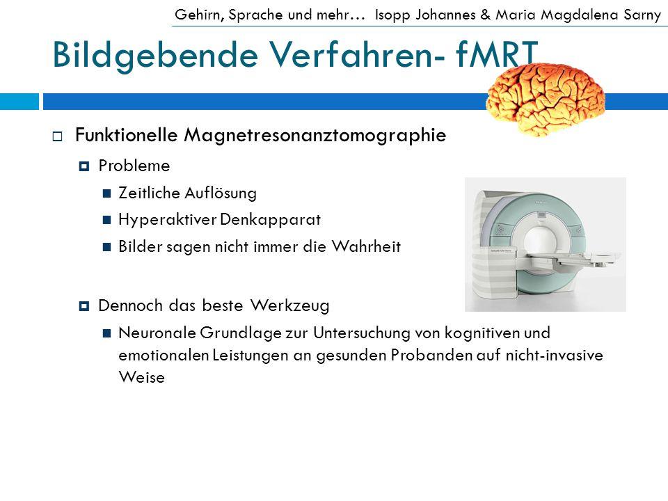 Bildgebende Verfahren- fMRT Funktionelle Magnetresonanztomographie Probleme Zeitliche Auflösung Hyperaktiver Denkapparat Bilder sagen nicht immer die