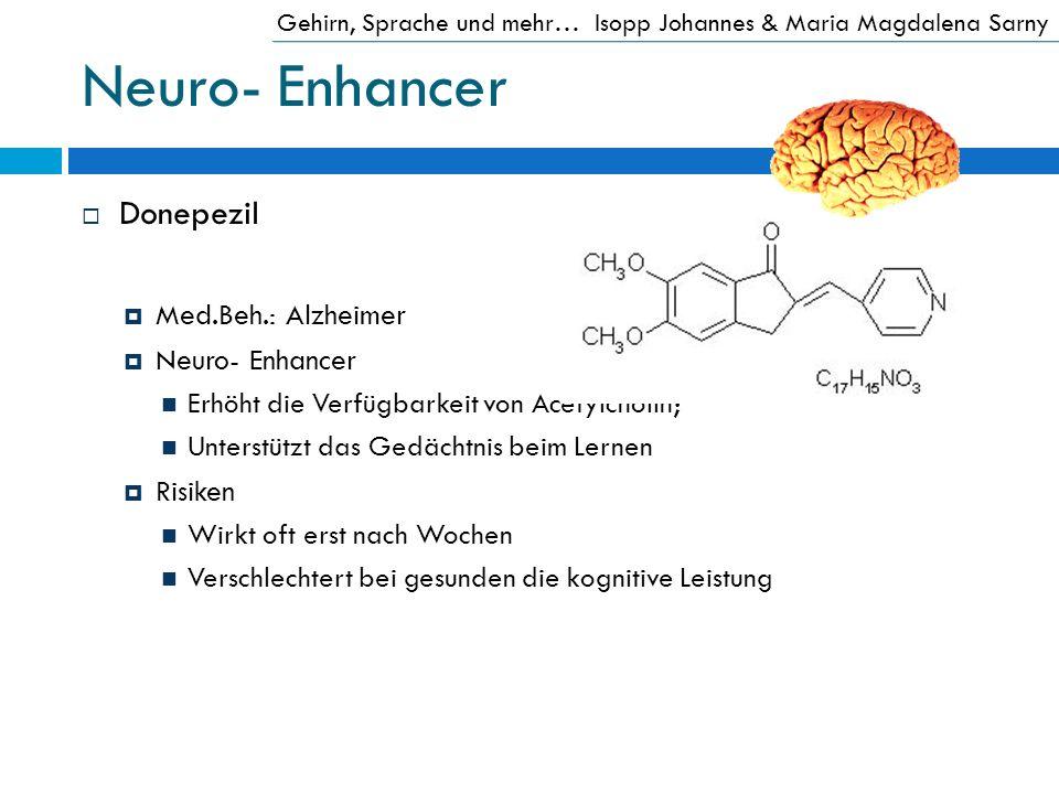 Neuro- Enhancer Donepezil Med.Beh.: Alzheimer Neuro- Enhancer Erhöht die Verfügbarkeit von Acetylcholin; Unterstützt das Gedächtnis beim Lernen Risike
