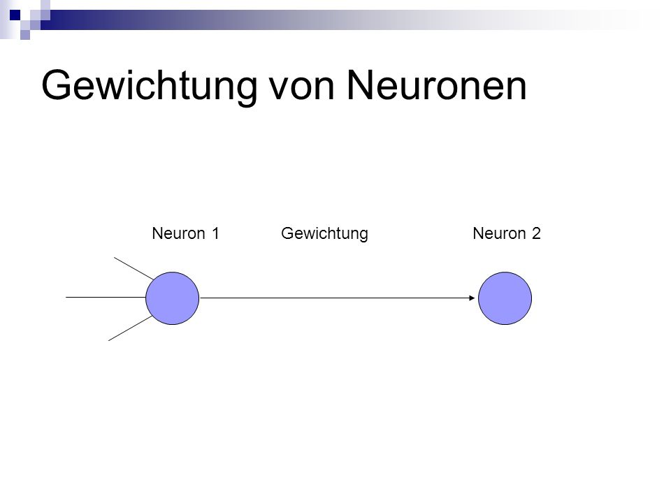 Gewichtung von Neuronen Neuron 1 Gewichtung Neuron 2