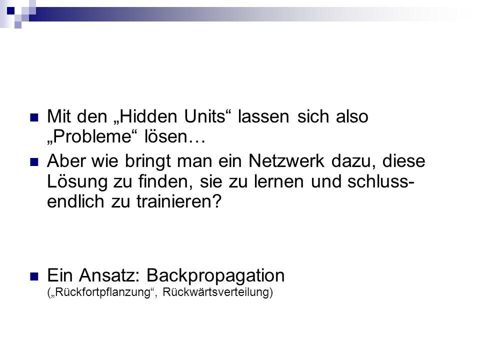 Mit den Hidden Units lassen sich also Probleme lösen… Aber wie bringt man ein Netzwerk dazu, diese Lösung zu finden, sie zu lernen und schluss- endlic