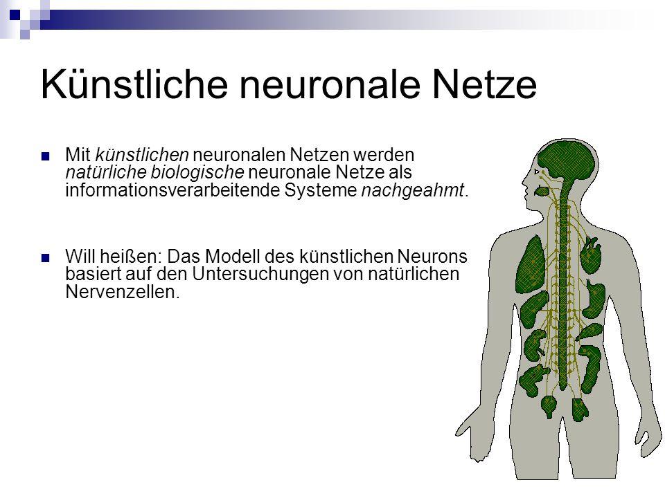 Künstliche neuronale Netze Mit künstlichen neuronalen Netzen werden natürliche biologische neuronale Netze als informationsverarbeitende Systeme nachg