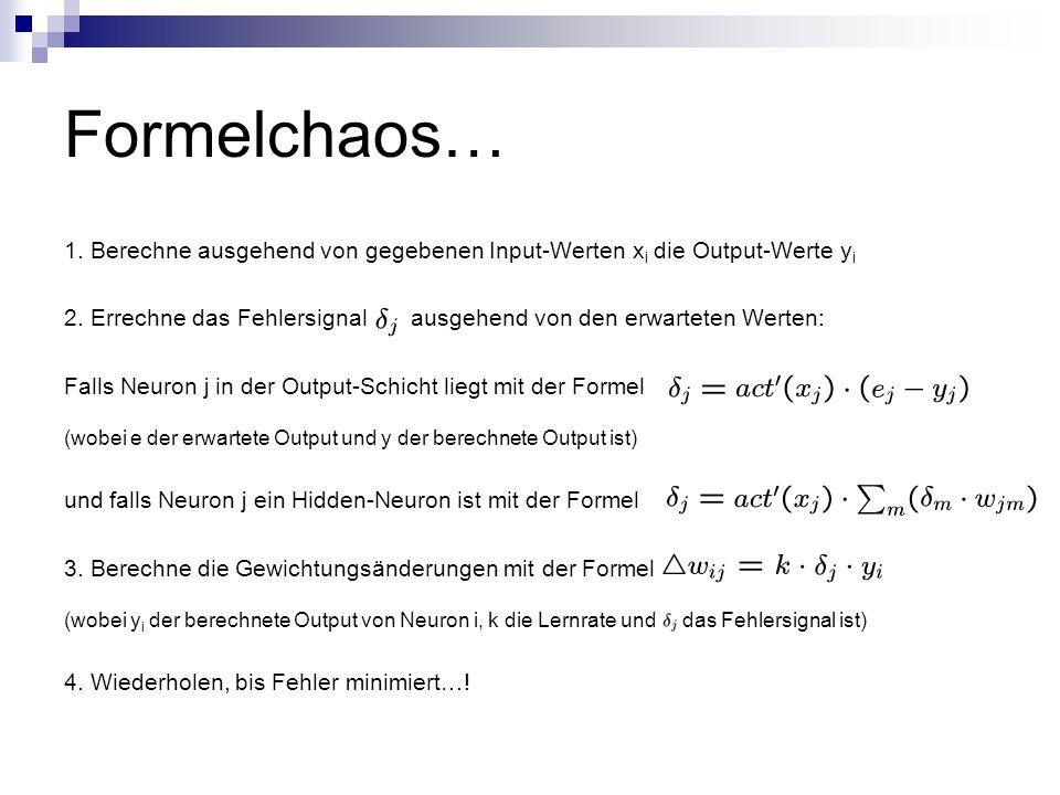 Formelchaos… 1. Berechne ausgehend von gegebenen Input-Werten x i die Output-Werte y i 2. Errechne das Fehlersignal ausgehend von den erwarteten Werte