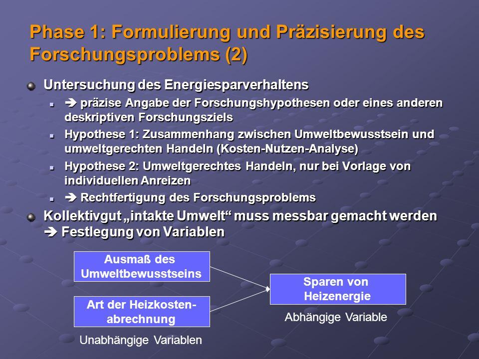 Untersuchung des Energiesparverhaltens präzise Angabe der Forschungshypothesen oder eines anderen deskriptiven Forschungsziels präzise Angabe der Fors