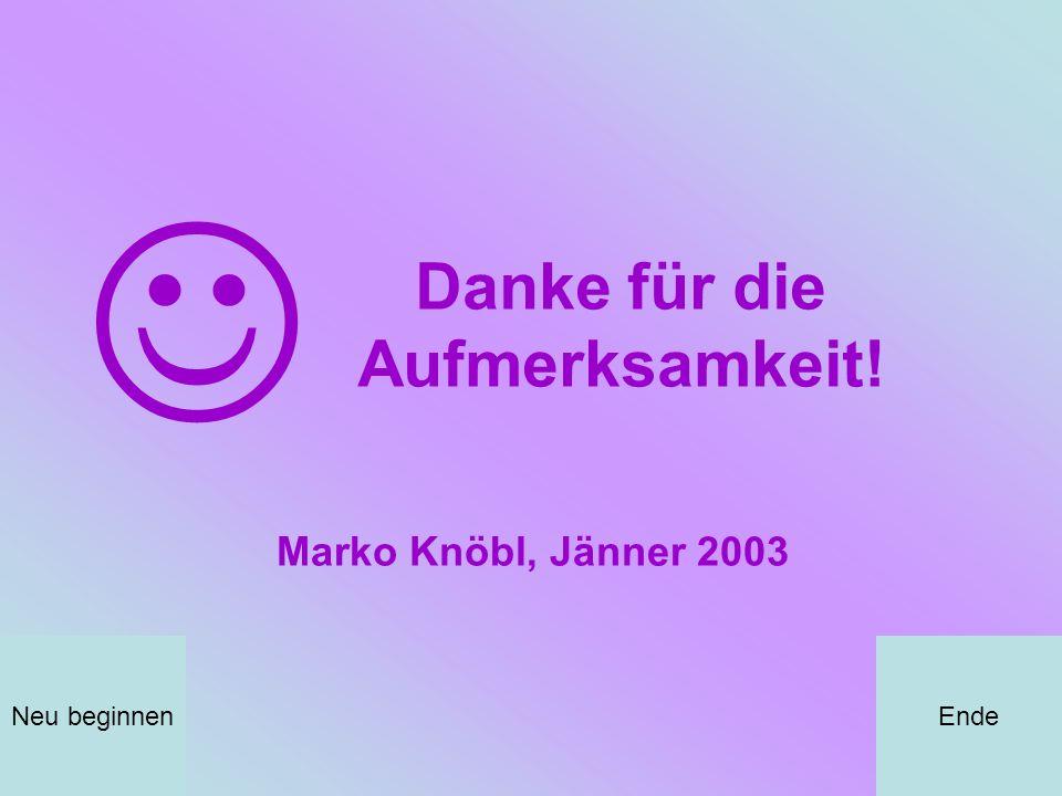 Danke für die Aufmerksamkeit! EndeNeu beginnen Marko Knöbl, Jänner 2003