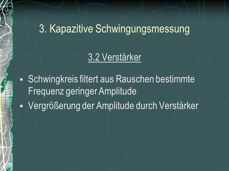 3. Kapazitive Schwingungsmessung 3.1. Bandpass o Ausschlag des Pendels Kapazitätsänderung Frequenzänderung des Schwingkreises ~ R C L UAUA