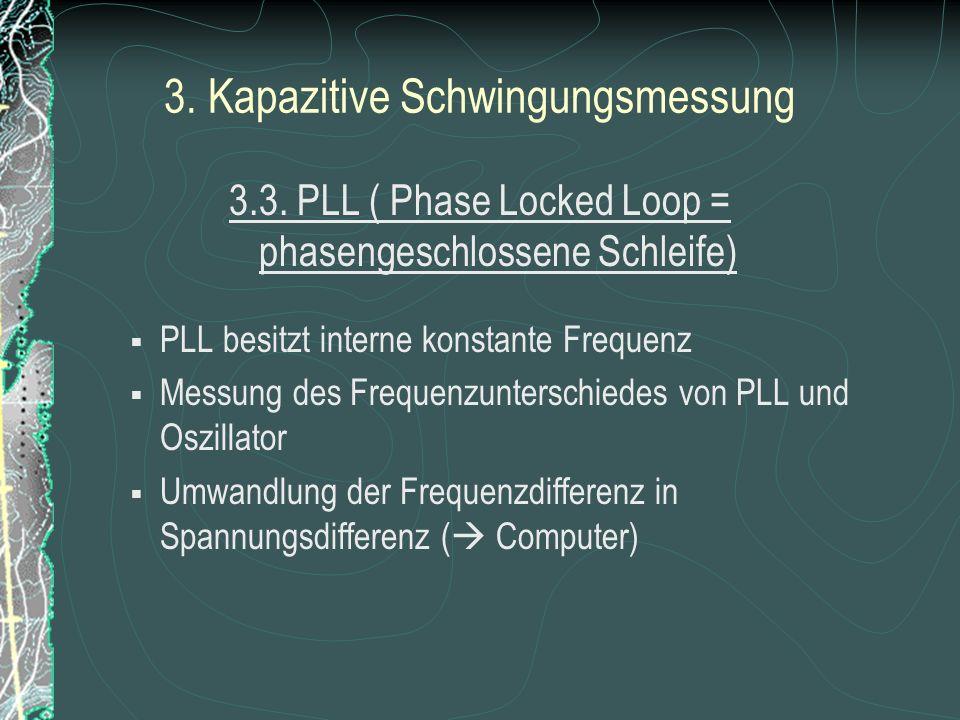 3. Kapazitive Schwingungsmessung 3.2 Verstärker Schwingkreis filtert aus Rauschen bestimmte Frequenz geringer Amplitude Vergrößerung der Amplitude dur