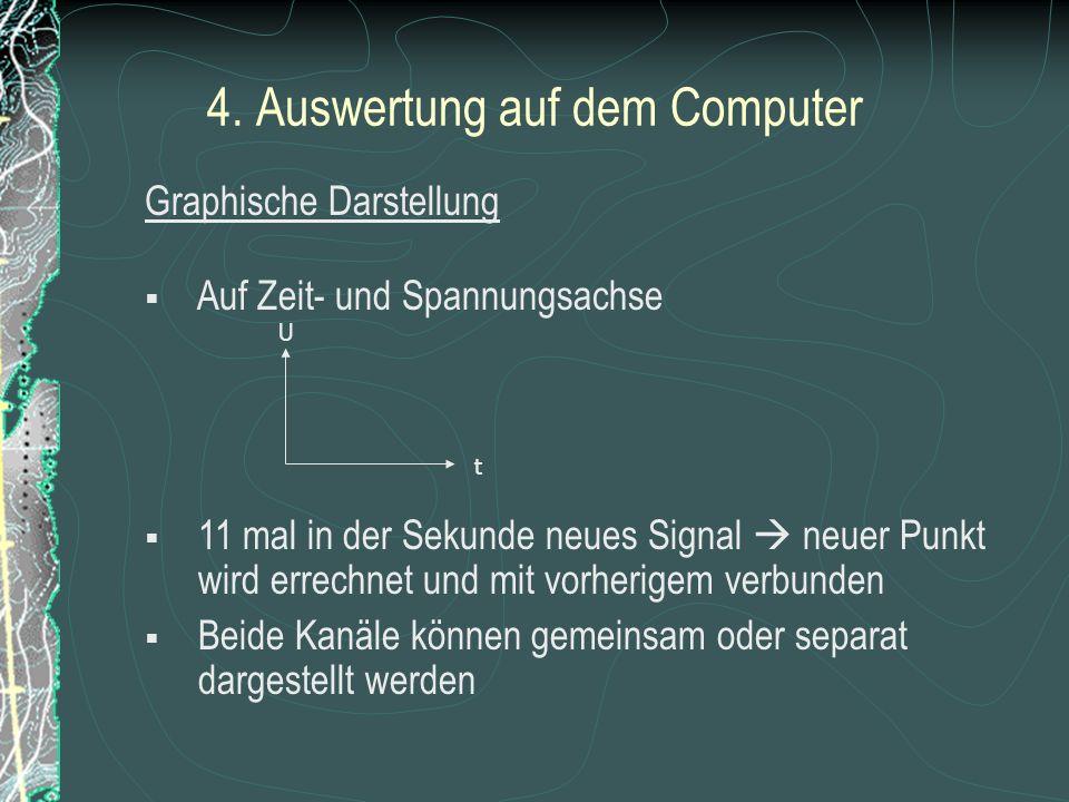 4. Auswertung mit dem Computer 2 Kanäle der USB – Box: - Optische Schwingungsmessung - Kapazitive Schwingungsmessung Visual Basis stellt Signale graph