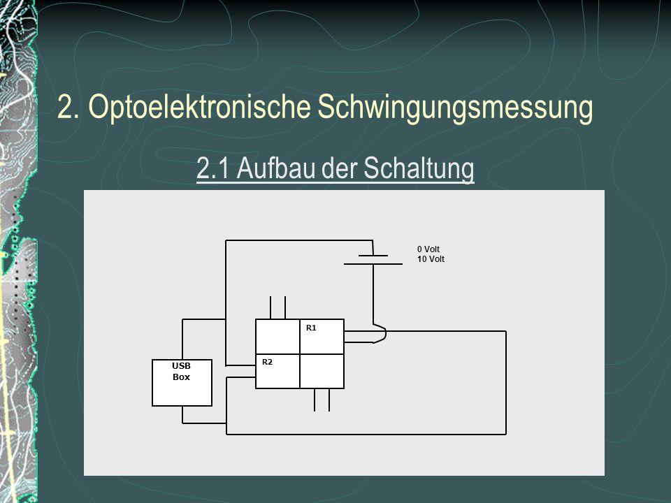 2. Optoelektronische Schwingungsmessung 2.1 Aufbau der Schaltung USB Box R1 R2 0 Volt 10 Volt