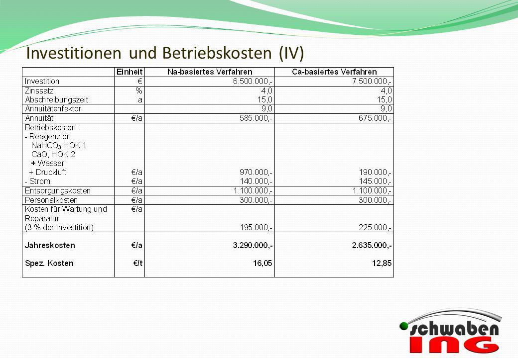 Investitionen und Betriebskosten (IV)