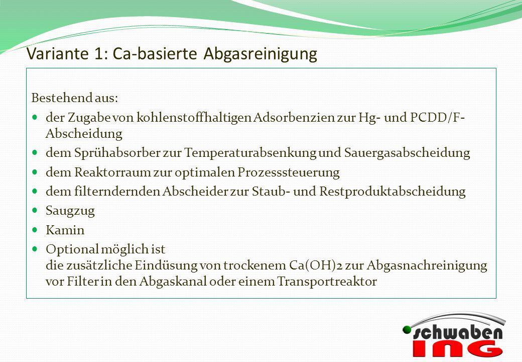 Variante 1: Ca-basierte Abgasreinigung Bestehend aus: der Zugabe von kohlenstoffhaltigen Adsorbenzien zur Hg- und PCDD/F- Abscheidung dem Sprühabsorbe