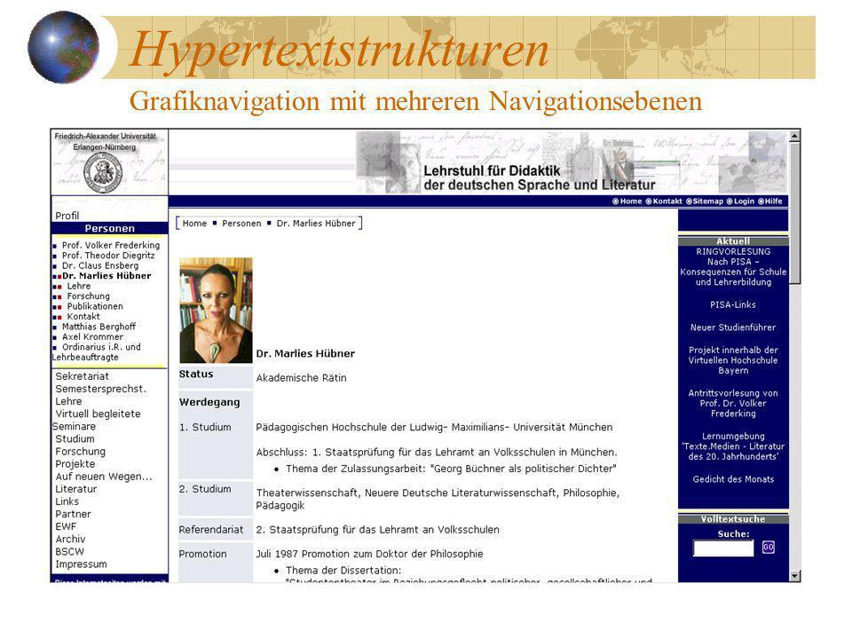 Hypertextstrukturen Grafiknavigation mit mehreren Navigationsebenen