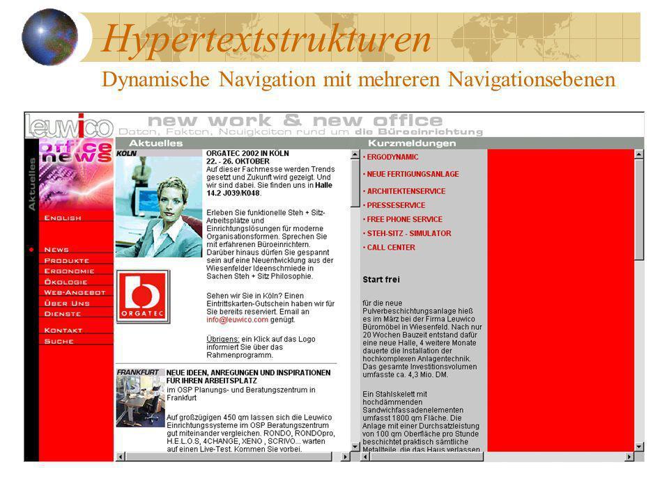 Hypertextstrukturen Dynamische Navigation mit mehreren Navigationsebenen