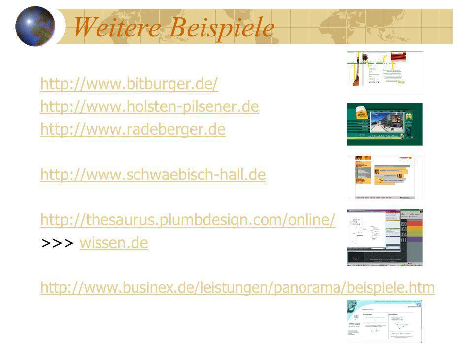 Weitere Beispiele http://www.bitburger.de/ http://www.holsten-pilsener.de http://www.radeberger.de http://www.schwaebisch-hall.de http://thesaurus.plu