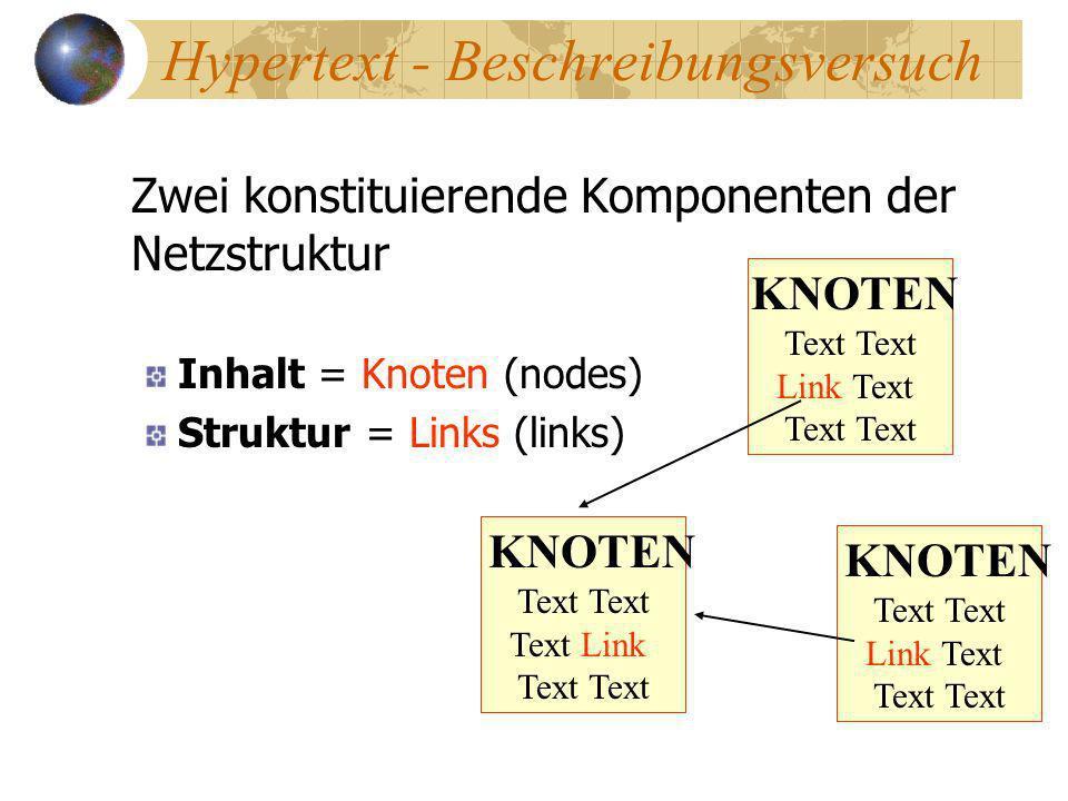 Hypertext - Beschreibungsversuch Zwei konstituierende Komponenten der Netzstruktur Inhalt = Knoten (nodes) Struktur = Links (links) KNOTEN Text Link T