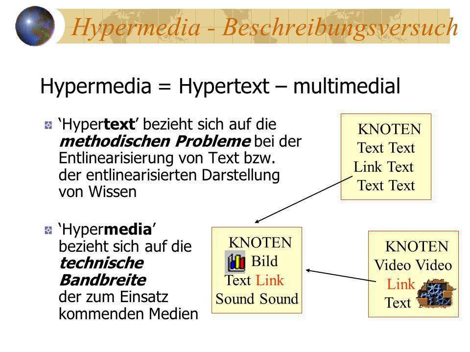 Hypermedia - Beschreibungsversuch Hypertext bezieht sich auf die methodischen Probleme bei der Entlinearisierung von Text bzw. der entlinearisierten D