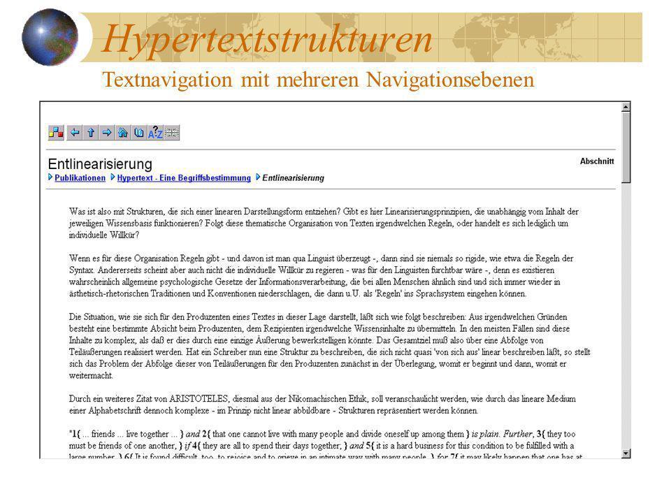 Hypertextstrukturen Textnavigation mit mehreren Navigationsebenen