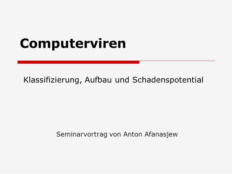 Computerviren Seminarvortrag von Anton Afanasjew Klassifizierung, Aufbau und Schadenspotential