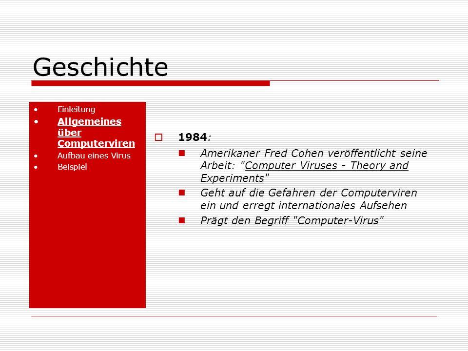 Geschichte Einleitung Allgemeines über Computerviren Aufbau eines Virus Beispiel 1984: Amerikaner Fred Cohen veröffentlicht seine Arbeit: Computer Viruses - Theory and Experiments Geht auf die Gefahren der Computerviren ein und erregt internationales Aufsehen Prägt den Begriff Computer-Virus