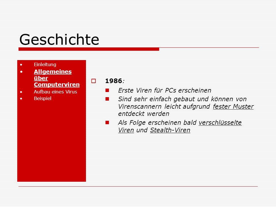 Geschichte Einleitung Allgemeines über Computerviren Aufbau eines Virus Beispiel 1986: Erste Viren für PCs erscheinen Sind sehr einfach gebaut und können von Virenscannern leicht aufgrund fester Muster entdeckt werden Als Folge erscheinen bald verschlüsselte Viren und Stealth-Viren